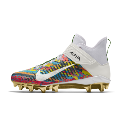 Мужские бутсы для американского футбола с индивидуальным дизайном Nike Alpha Menace Pro 2 Mid By You - Золотистый