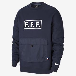 FFF Maglia a girocollo da calcio a manica lunga in fleece