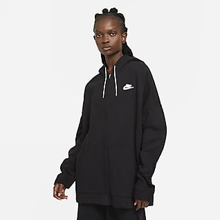 Nike Sportswear Tam Boy Fermuarlı Fransız Havlu Kumaşı Kadın Kapüşonlu Üstü