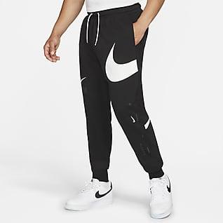 Nike Sportswear Swoosh Męskie spodnie z materiału częściowo szczotkowanego od spodu