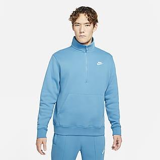 Nike Sportswear Fleeceoverdel med glidelås i halsen til herre