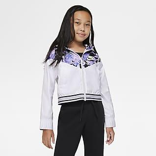 Nike Sportswear Windrunner Chamarra con gráfico para niñas talla grande
