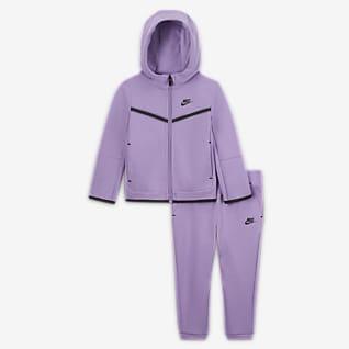 Nike Sportswear Tech Fleece Set med huvtröja med dragkedja och byxor för baby (12-24 mån)