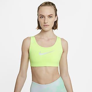 Nike Dri-FIT Swoosh Icon Clash Közepes tartást adó, párnázás nélküli, pántos női sportmelltartó