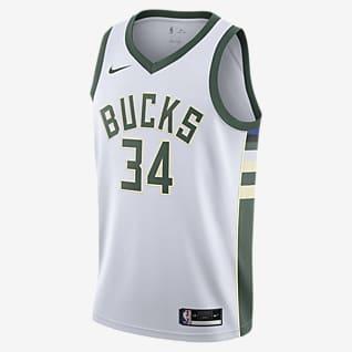 2020 赛季密尔沃基雄鹿队 (Giannis Antetokounmpo) Association Edition Nike NBA Swingman Jersey 男子球衣