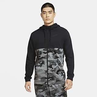 Nike Dri-FIT Hoodie de treino camuflado com fecho completo para homem