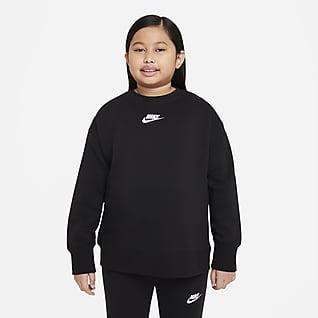 Nike Sportswear Club Fleece Tröja med rund hals för ungdom (tjejer) (utökade storlekar)