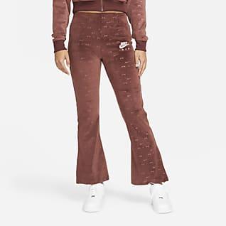 Nike Air กางเกงขายาวกำมะหยี่เอวปานกลางผู้หญิง