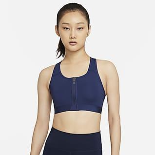 Nike Dri-FIT Swoosh Zip-Front สปอร์ตบราผู้หญิงซัพพอร์ตระดับกลางเสริมฟองน้ำ