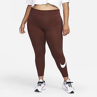 Nike Sportswear Essential Swoosh-leggings med mellemhøj talje til kvinder (plus size)