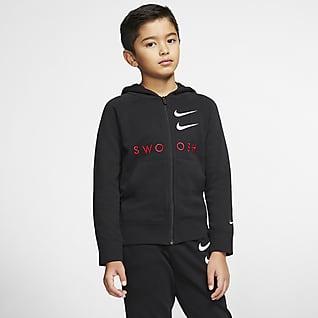 Nike Sportswear Swoosh Sudadera con capucha de French Terry con cierre completo para niño talla grande