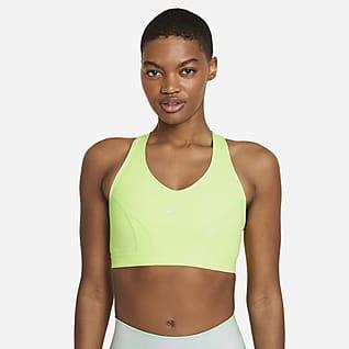 Nike Dri-FIT Swoosh Icon Clash Sports-BH med innlegg i ett stykke, v-hals og middels støtte til dame