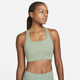 Nike Dri-FIT Swoosh Icon Clash Dámská sportovní podprsenka se střední oporou, jednodílnou vycpávkou apotiskem