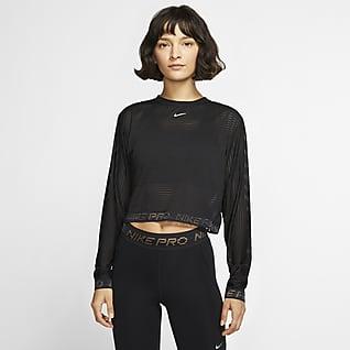 Nike Pro Γυναικεία μακρυμάνικη μπλούζα σε κοντό μήκος από διχτυωτό υλικό