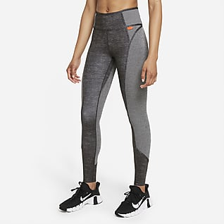 Nike Dri-FIT One Luxe Melerade leggings med mellanhög midja för kvinnor