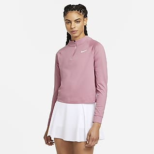 NikeCourt Dri-FIT Victory Camiseta de tenis con medio cierre de manga larga para mujer