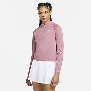 NikeCourt Dri-FIT Victory Langermet tennisoverdel med glidelås i halsen til dame