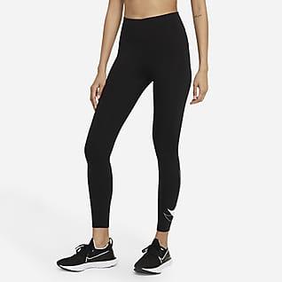 Nike Dri-FIT Swoosh Run Женские слегка укороченные беговые леггинсы со средней посадкой