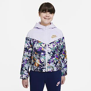 Nike Sportswear Windrunner Chamarra estampada para niña talla grande (talla extendida)