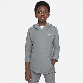 Nike Yoga Dri-FIT Sudadera con gorro de entrenamiento para niños talla grande
