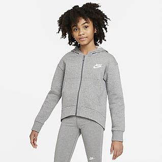 Nike Sportswear Club Fleece Hoodie met rits over de hele lengte voor meisjes