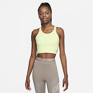Nike Pro Dri-FIT Женская укороченная майка с вшитым бра