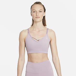 Nike Yoga Dri-FIT Indy Sports-bh med let støtte, indlæg og stropper