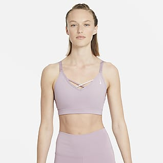 Nike Yoga Dri-FIT Indy Sports-BH med stropper, polstring og lett støtte til dame