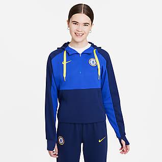 Chelsea FC Sudadera de fútbol con gorro de tejido Fleece con cierre de 1/4 para mujer