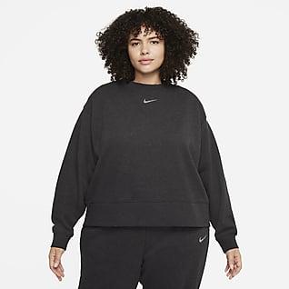 Nike Sportswear Collection Essentials Dámská volnější flísová mikina skulatým výstřihem (větší velikost)