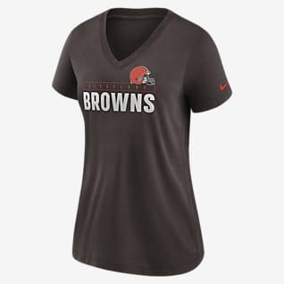 Nike Logo (NFL Cleveland Browns) Women's Mid V-Neck T-Shirt