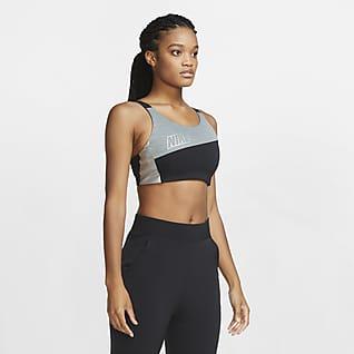 Nike Swoosh Спортивное бра с цельным вкладышем, средней поддержкой и эффектом металлик