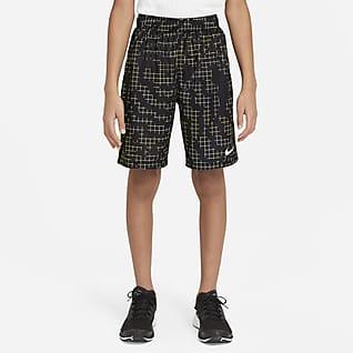 Nike Dri-FIT กางเกงเทรนนิ่งขาสั้นเด็กโตพิมพ์ลาย (ชาย)