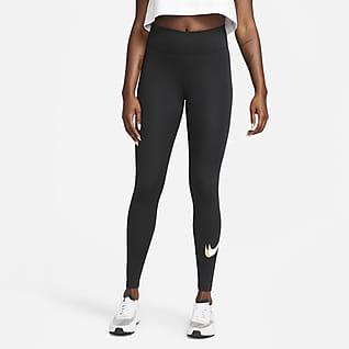 Nike One Luxe Dri-FIT Legging met halfhoge taille en print voor dames