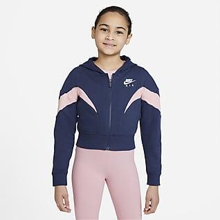 Nike Air Mikina s kapucí a dlouhým zipem pro větší děti (dívky)