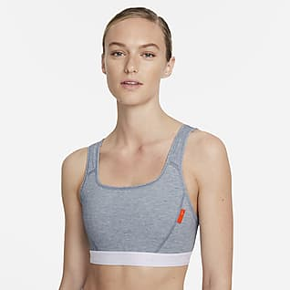 Nike Dri-FIT Swoosh Soft Tee Sport-BH mit mittlerem Halt und einteiligem Polster für Damen