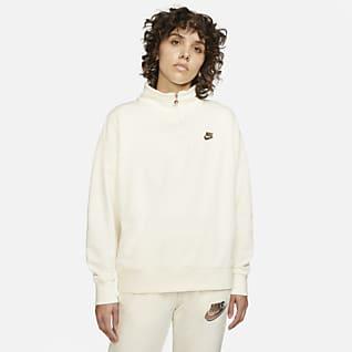 Nike Sportswear Damen-Fleece-Pullover mit Viertelreißverschluss