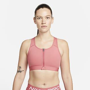 Nike Dri-FIT Swoosh Dámská sportovní podprsenka svycpávkami, střední oporou azipem vpředu