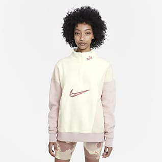 Nike Sportswear Fleece med glidelås i halsen til dame