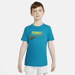 NikeCourt T-shirt do tenisa z nadrukiem dla dużych dzieci