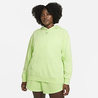 Nike Sportswear Γυναικεία μπλούζα με κουκούλα και ξεθωριασμένη όψη (μεγάλα μεγέθη)