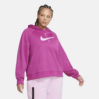 Nike Sportswear Swoosh Sudadera con capucha de tejido Fleece para mujer (talla grande)