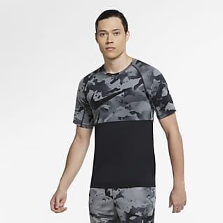 Nike Pro Camisola de manga curta camuflada para homem