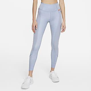 Nike Dri-FIT One Luxe เลกกิ้งเอวปานกลางผู้หญิงลายฮีเธอร์