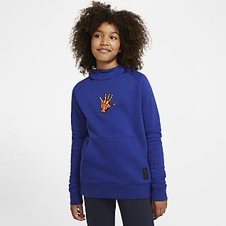 Μπαρτσελόνα Ποδοσφαιρικό φλις φούτερ με κουκούλα για μεγάλα παιδιά