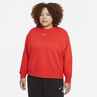 Nike Sportswear Collection Essentials Sudadera de cuello redondo de tejido Fleece oversized para mujer (talla grande)