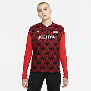 Nike Team Kenya Женская беговая футболка с молнией на половину длины