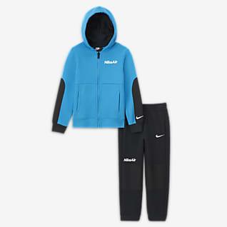 Nike Air Set med huvtröja med dragkedja och byxor för små barn