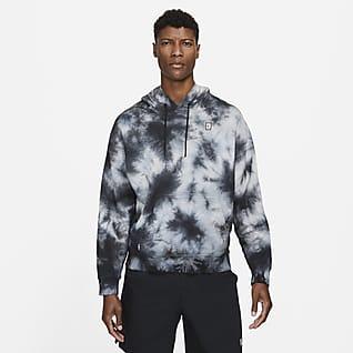 NikeCourt Batik Boyalı Fleece Erkek Kapüşonlu Tenis Üstü