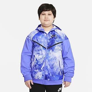 Nike Sportswear Windrunner Chamarra tie-dye para niños talla grande (talla amplia)